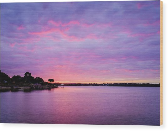 Sunset Lake Arlington Texas Wood Print