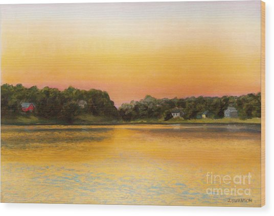 Sunset Lake Wood Print by Joan Swanson