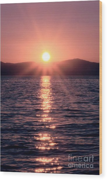 Sunset Lake Verticle Wood Print