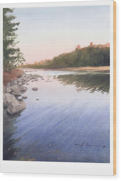 Sunset Lake Watercolor Painting Wood Print by Mike Theuer