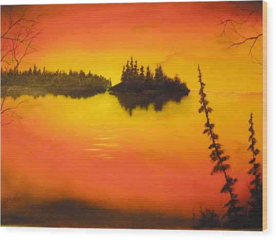 Sunset Lake1 Wood Print by Ron Sargent