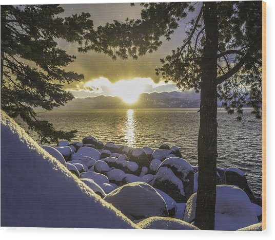 Sunset Light Lake Tahoe Wood Print