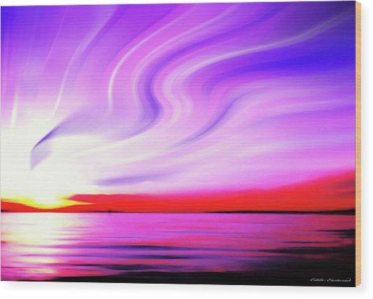 Sunset Light Painting At Edmonds Washington Waterfront Wood Print