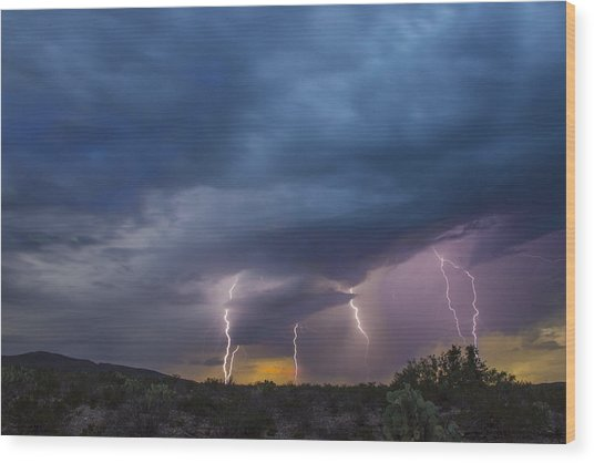 Sunset Lightning Wood Print
