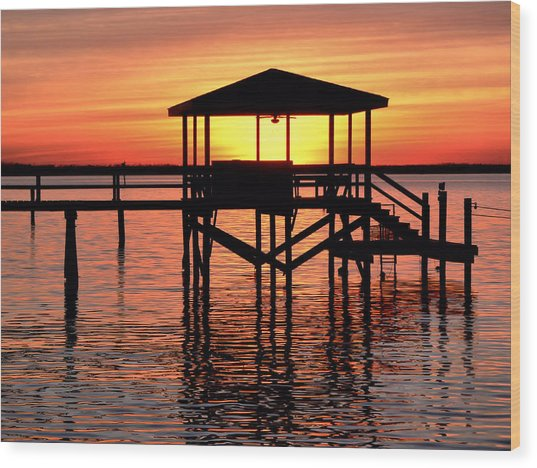 Sunset Lit Pier Wood Print