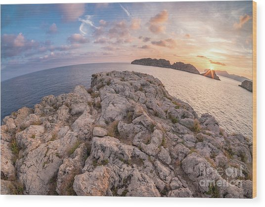 Sunset Malgrats Island Wide Angle Wood Print