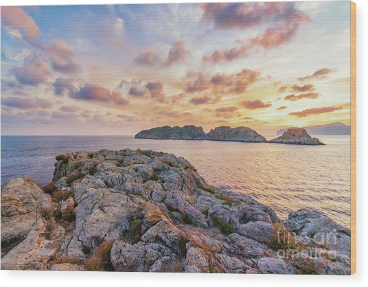 Sunset Malgrats Islands Wood Print