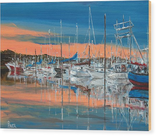 Sunset Marina Wood Print by Pete Maier