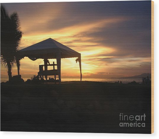 Sunset Massage Wood Print