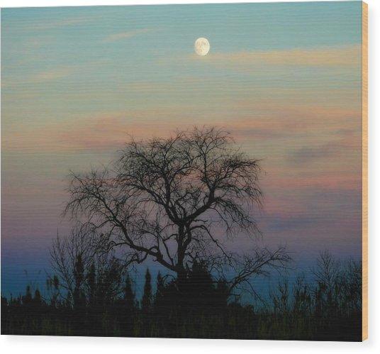 Sunset Moon Wood Print