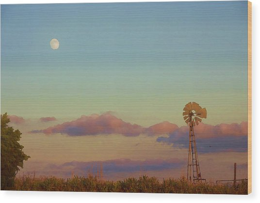 Sunset Moonrise With Windmill  Wood Print