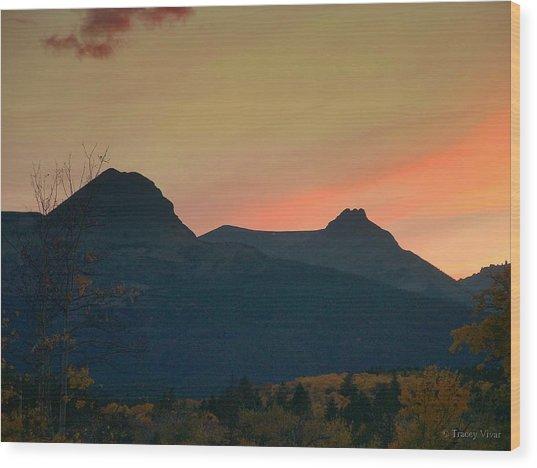 Sunset Mountain Silhouette Wood Print