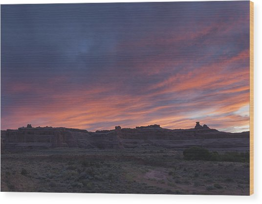 Sunset Near Court House Wash Wood Print