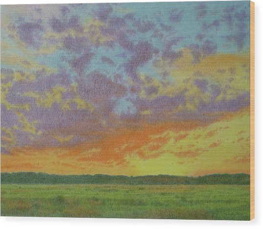 Sunset Near Miles City Wood Print