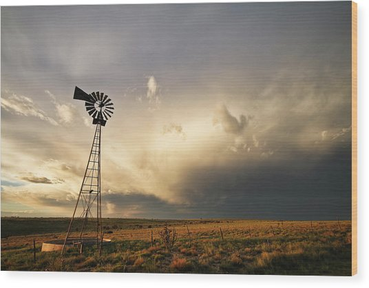 Sunset Near Santa Rosa New Mexico Wood Print