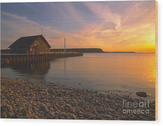 Sunset On Anderson's Dock - Door County Wood Print