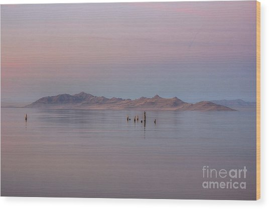 Sunset On Antelope Island Wood Print