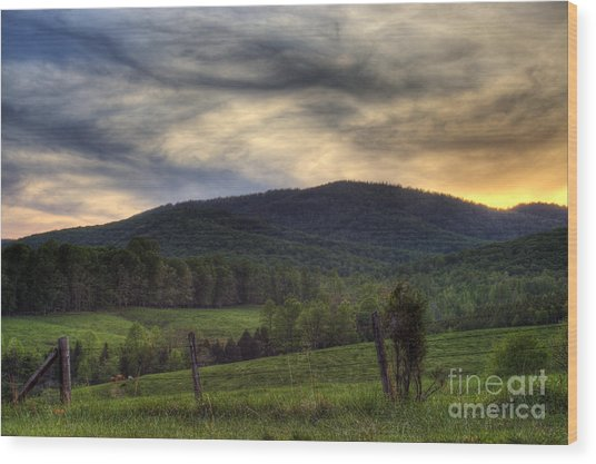 Sunset On Appleberry Mountain 2 Wood Print