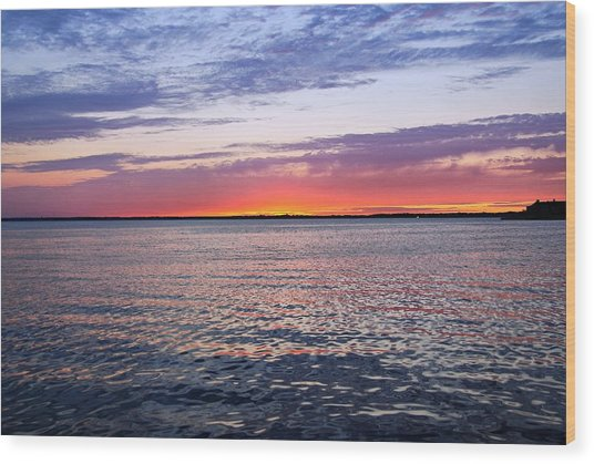 Sunset On Barnegat Bay I - Jersey Shore Wood Print
