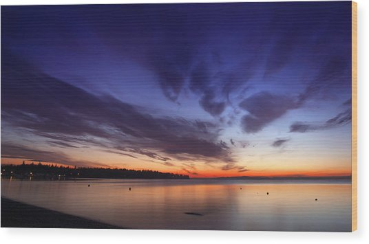 Sunset On Birch Bay 3 Wood Print by Julius Reque
