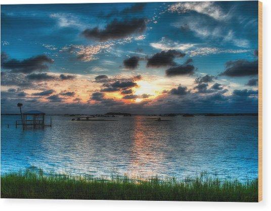 Sunset On Cedar Key Wood Print by Rich Leighton