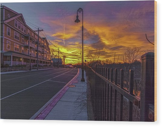 Sunset On Eliot St Milton Ma Wood Print