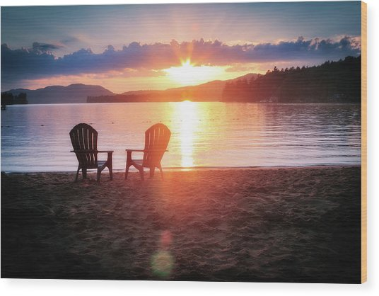 Sunset On Fourth Lake Wood Print