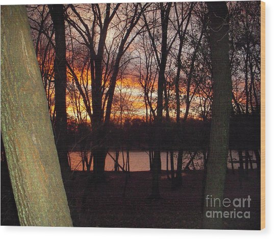 Sunset On Fox River Wood Print by Deborah Finley