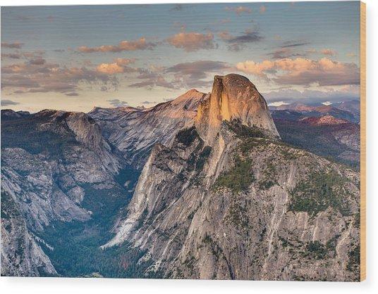 Sunset On Half Dome Wood Print