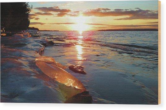 Sunset On Ice Wood Print