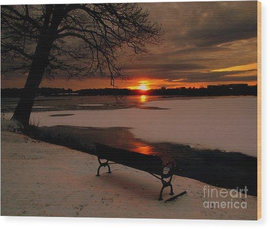 Sunset On Lake Quanapowitt Wood Print