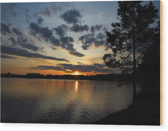 Sunset On Lake Quannapowitt Wood Print