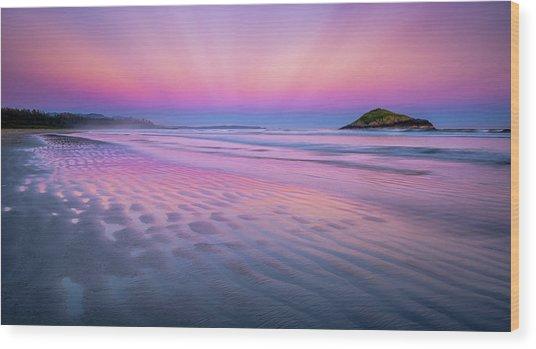 Sunset On Long Beach Wood Print