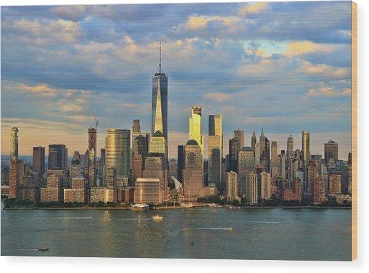 Sunset On Lower Manhattan Wood Print