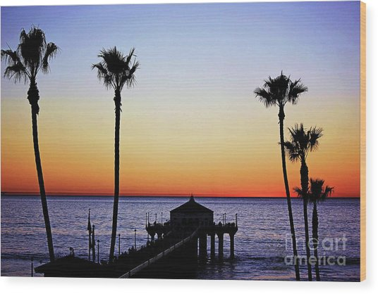 Sunset On Manhattan Beach Pier Wood Print
