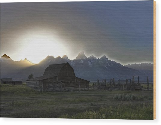 Sunset On Mormon Row  Wy Wood Print by Vijay Sharon Govender