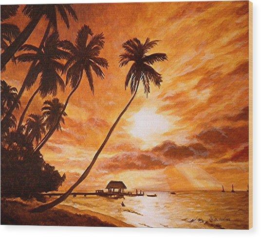 Sunset On Paradise Cove Wood Print