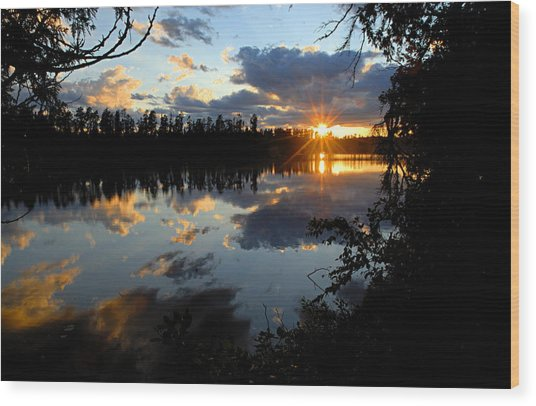 Sunset On Polly Lake Wood Print