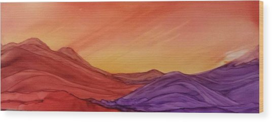 Sunset On Red And Purple Hills Wood Print