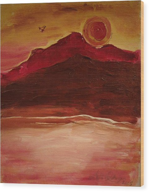 Sunset On Red Mountain Wood Print
