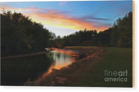 Wood Print featuring the photograph Sunset On Saco River by Patti Whitten