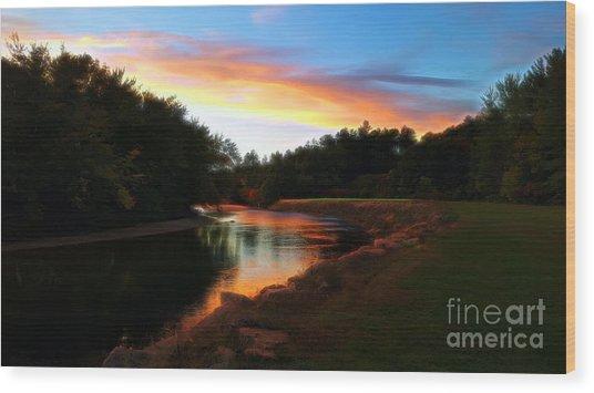 Sunset On Saco River Wood Print