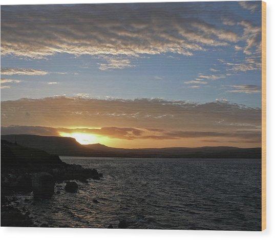 Sunset On The Antrim Coast Road. Wood Print