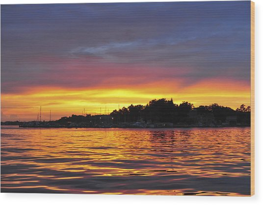 Sunset On The Bay Island Heights Nj Wood Print