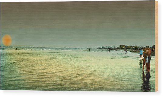 Sunset On The Beach Wood Print by Ken Gimmi