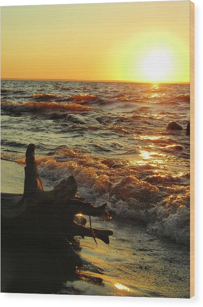 Sunset On The Beach Wood Print by Peter Mowry
