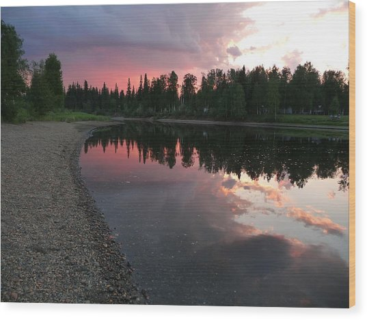 Sunset On The Chena River Wood Print