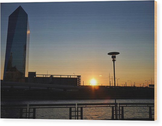Sunset On The Cira Building Wood Print by Andrew Dinh
