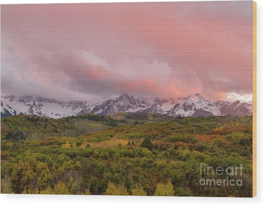 Sunset On The Dallas Divide Ridgway Colorado Wood Print