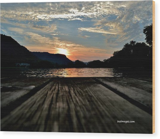 Sunset On The Dock Wood Print